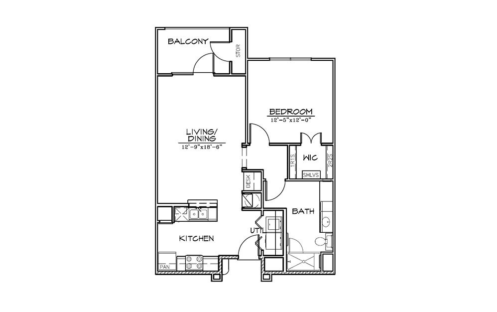 Augusta - 1 bedroom floorplan layout with 1 bath and 770 square feet (1st floor 2D)