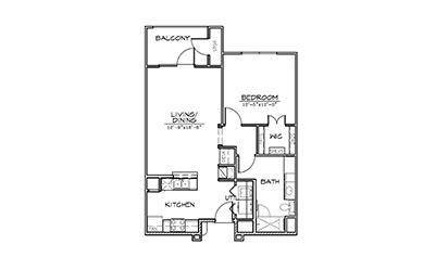 Augusta - 1 bedroom floorplan layout with 1 bath and 770 square feet