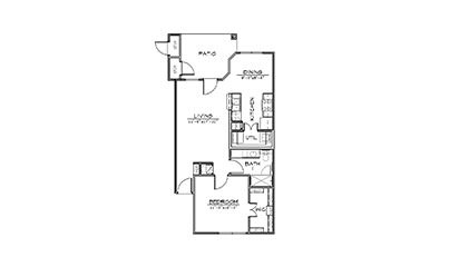 Cypress Point - 1 bedroom floorplan layout with 1 bath and 742 square feet