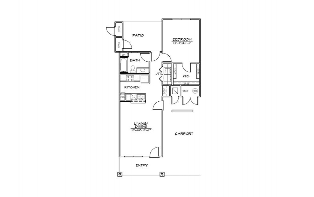 Pebble Beach - 1 bedroom floorplan layout with 1 bath and 830 square feet (1st floor 2D)