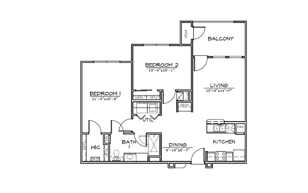 Pinehurst - 2 bedroom floorplan layout with 1 bath and 945 square feet (1st floor 2D)