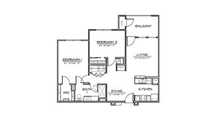 Pinehurst - 2 bedroom floorplan layout with 1 bath and 945 square feet