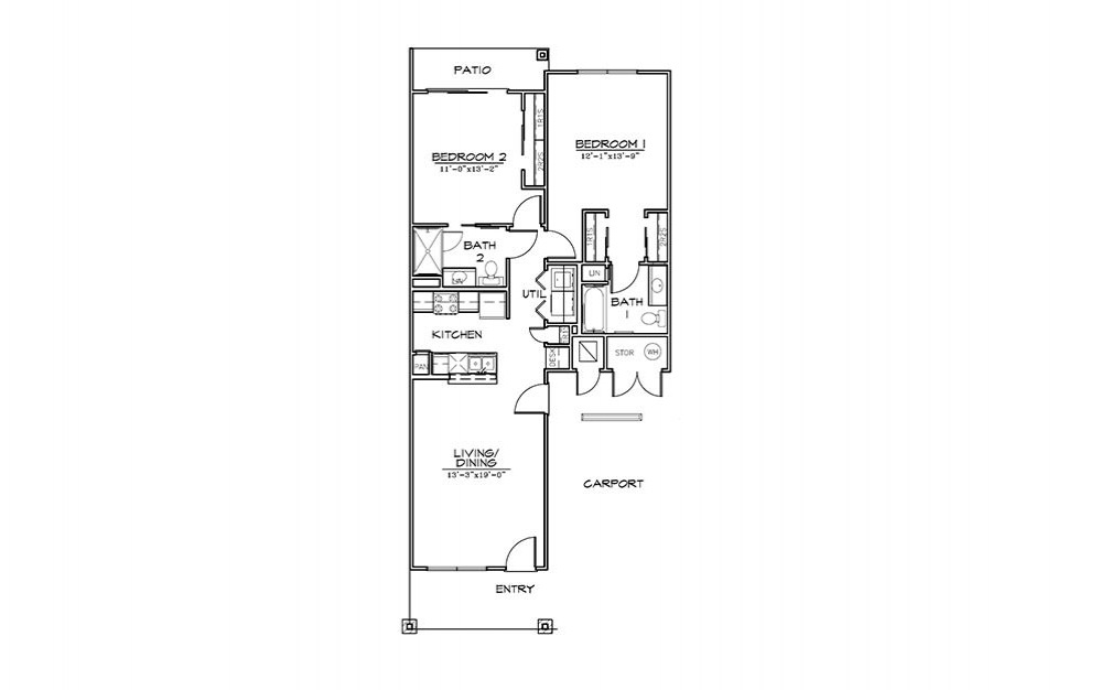 St. Andrews - 2 bedroom floorplan layout with 2 bath and 1047 square feet (1st floor 2D)