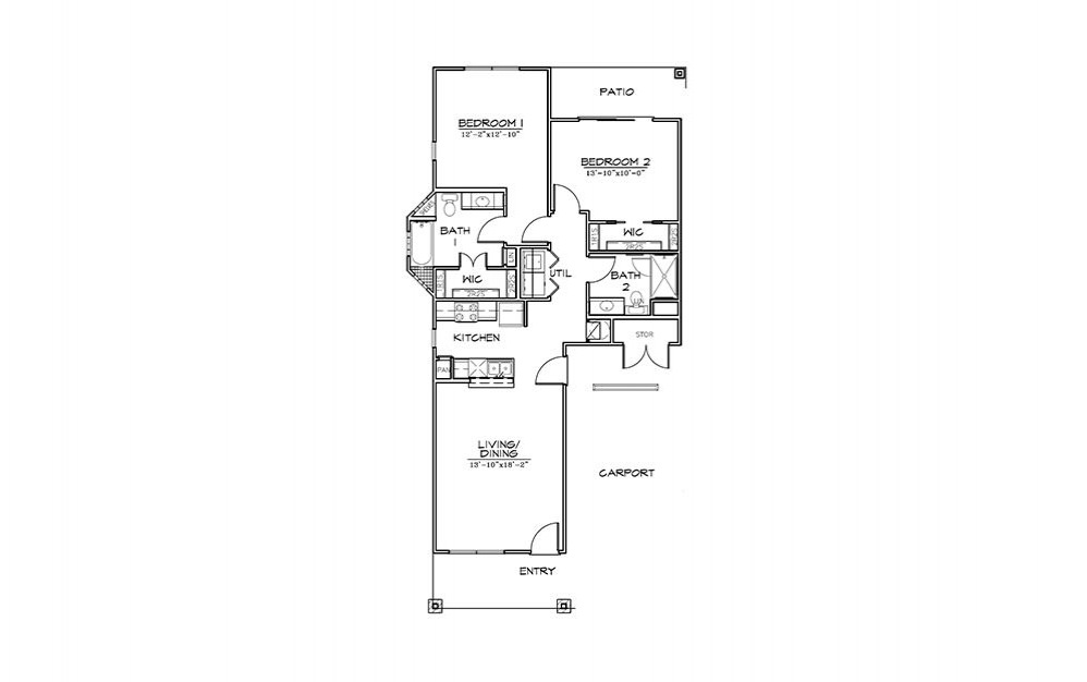 Torrey Pines - 2 bedroom floorplan layout with 2 bath and 1080 square feet (1st floor 2D)